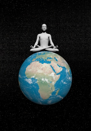Human meditating quietly on the earth in universe background photo