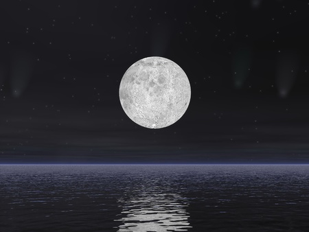 Beautiful full moon by dark night with stars and comets over the ocean Stock Photo - 18574693