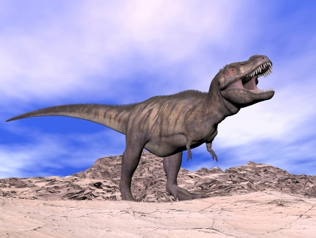 Agressive tyrannosaurus dinosaur in the desert cloudy day with its mouth open showing his teeth
