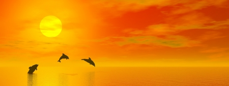Shadow of three small dolphins jumping in the ocean at the sun by red sunset  photo
