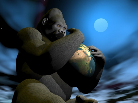 Big gorilla holding the earth in his arms by full moon night Stock Photo - 18837462