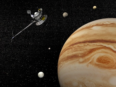 Voyager spacecraft near Jupiter and four of its famous satellites - Io, Europa, Ganymede and Callisto - by night  Standard-Bild