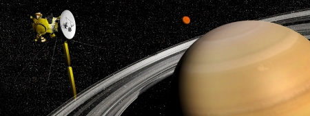 voyager: Cassini spacecraft near Saturn and titan satellite in the universe