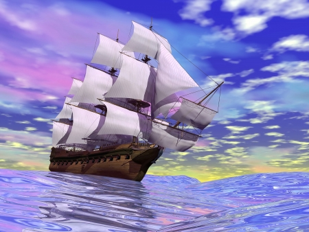 3d sail boat: Close up of a beautiful detailed old merchant ship on the ocean by cloudy day Stock Photo