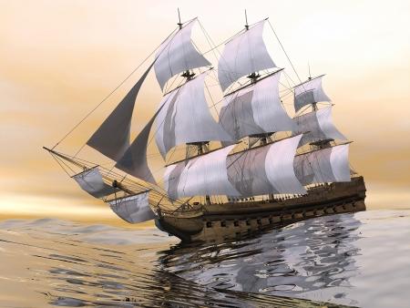 Gros plan d'un beau navire marchand vieux détaillée sur l'océan par la lumière du coucher du soleil Banque d'images