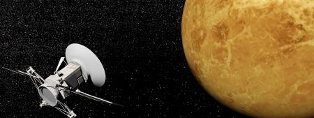 Magellan spacecraft near Venus planet by night Stock Photo - 18837533