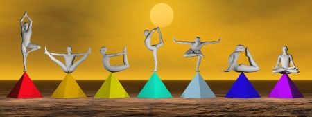 spirituality therapy: Yoga postures on seven colorful prymids for chakras by brown sunset Stock Photo