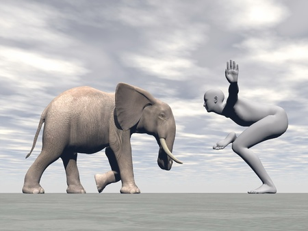 Human practicing yoga in front of elephant in grey cloudy background photo