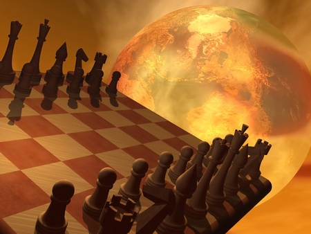 geopolitics: Chess and an earth trying to convey global business strategy in brown background