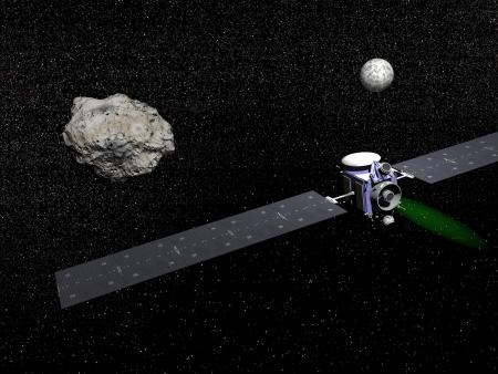 Dawn robotic spacecraft next to Ceres and Vesta, members of the asteroid belt, to study them in space.  - Elements of this image furnished by NASA