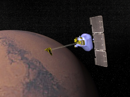 odyssey: Mars odyssesy spacecraft next to Mars planet to study it in the space