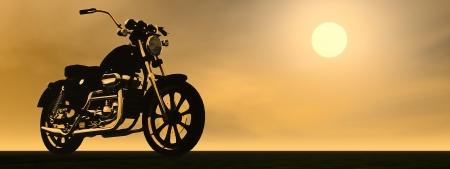 Ombre d'une moto avec des reflets métalliques au coucher du soleil