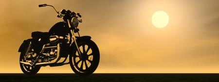 Shadow of a motorbike with metallic reflections by sunset photo