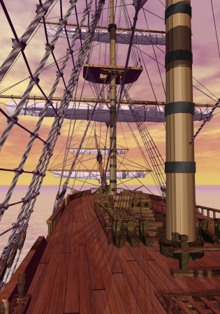 furled: View of an old merchant ship deck with furled sails by sunset