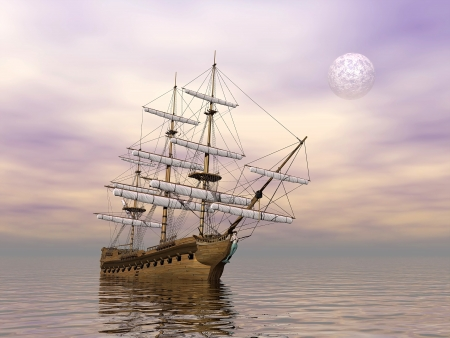 caravel: Old merchant ship on the ocean by cloudy weather with full moon