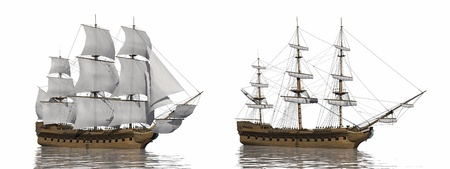 furled: Two old merchant ship, one with extended sails and the other with furled ones, in white background