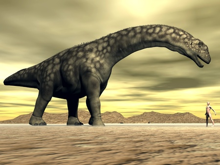 Big argentinosaurus dinosair face to face with a small human in the desert