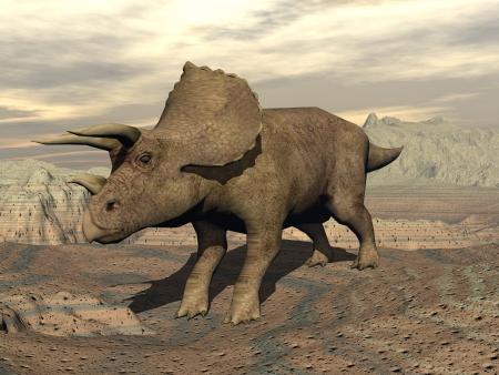 曇りの日で岩の砂漠に大きな 06 仮面ライダーメテオ ストーム恐竜立って