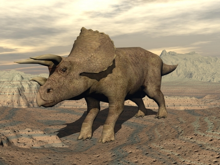 triassic: Big tricera dinosaur standing in the rocky desert by cloudy day Stock Photo