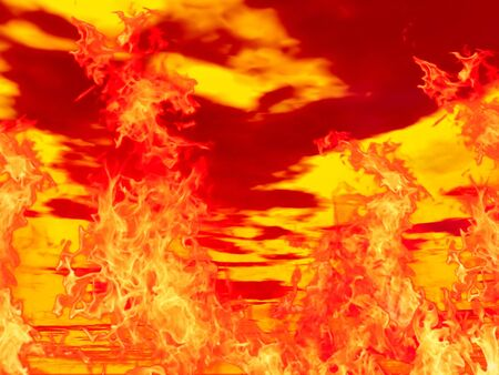 Hot burning fire in red cloudy background photo