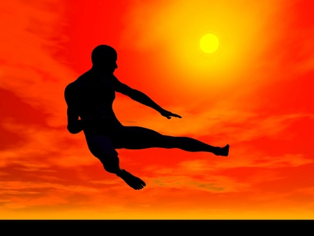 kungfu: Shadow of a man in kung-fu posture by red sunset Stock Photo
