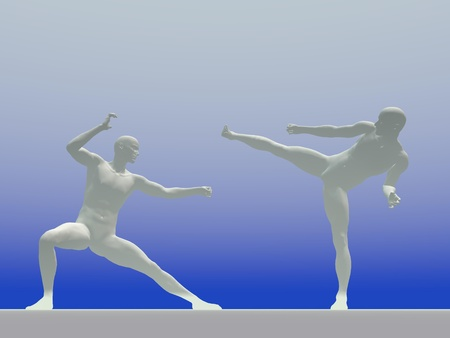 White shadow of two men face to face in kung-fu postures in blue background photo