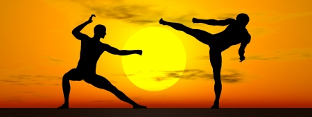 kungfu: Shadow of two men in kung-fu posture by sunset