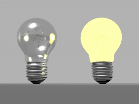 One light bulb off and another one on in grey background photo