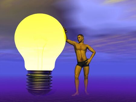 A man leaning against a light bulb on asking for an idea or happy to have it photo