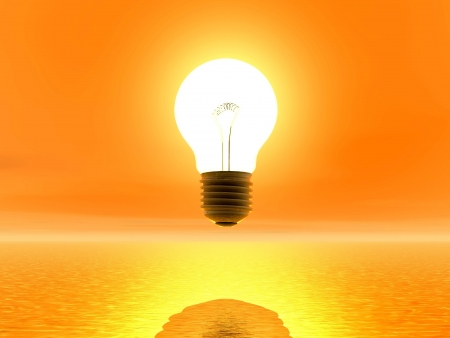 seem: Light bulb in front of sun and seem to be on because of sunlight Stock Photo
