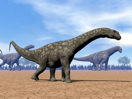 Three argentinosaurus dinosaurs walking in the desert by day photo