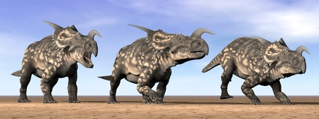 Three einiosaurus dinosaurs standing in the desert by daylight