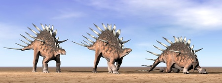 Three kentrosaurus dinosaurs standing in the desert by daylight