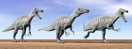 Three suchomimus dinosaurs standing in the desert by daylight photo