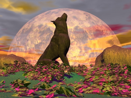 Wolf howling in the nature with surrealistic plants in front of the full moon photo