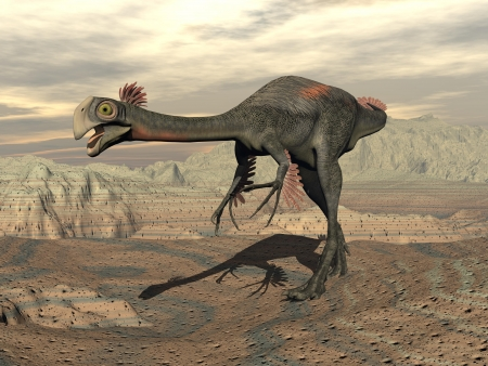 Gigantoraptor dinosaur walking alone  in the desert by cloudy sunset Banque d'images