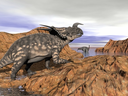 Einiosaurus dinosaur on a rock looking at an argentinosaurus dinosaur having a bath by cloudy day Banque d'images