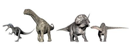 Four dinosaurs (brachisaurus, dicraeosaurus, acasaurus, diceratops) in white background