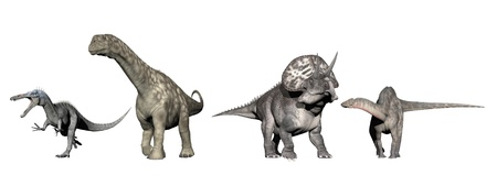 Four dinosaurs (brachisaurus, dicraeosaurus, acasaurus, diceratops) in white background