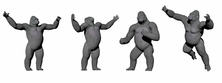 Gorillas up in four different positions in white background photo