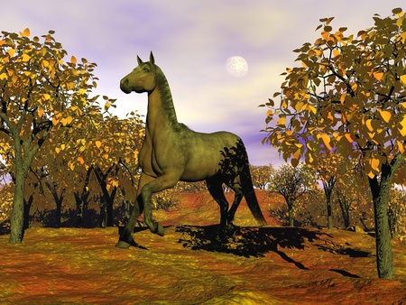 Beautiful brown horse running among trees by autumn cloudy day photo