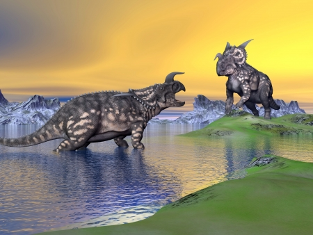 Two einiosaurus dinosaurs arguing in a landscape with water, mountains and green grass by sunset