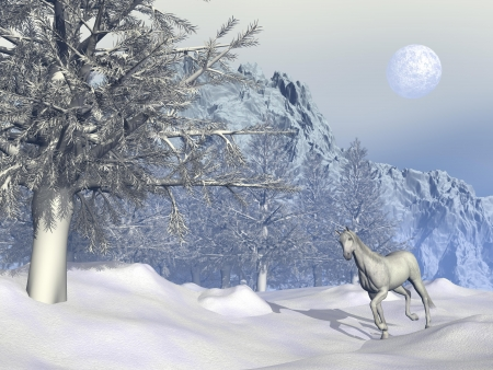 Beautiful white horse trotting in winter landscape in front of a big mountain and next to trees photo