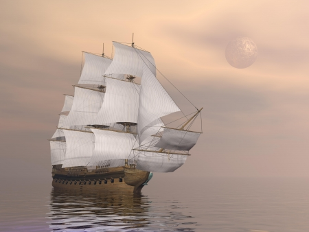 galleon: Beautiful old merchant ship floating on quiet water by sunset with full moon