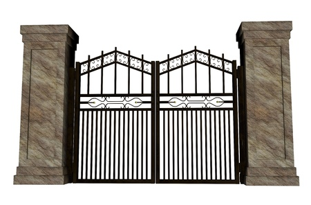 iron gate: Closed big iron gate in white background