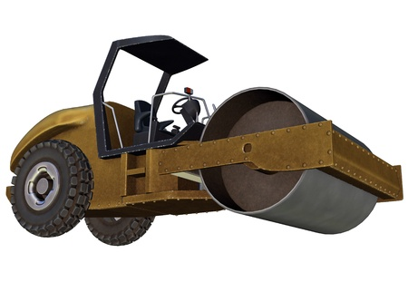 steamroller: Yellow metallic road roller in white background Stock Photo