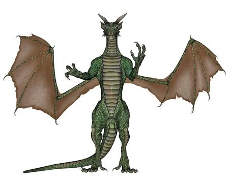swooping: Terrifying green dragon walking towards you in white background Stock Photo