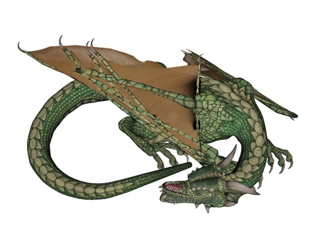 swooping: Green dragon sleeping quietly in white background