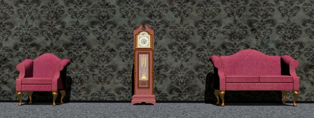 Vintage purple chair and sofa around an old big clock in front of dark wallpaper photo