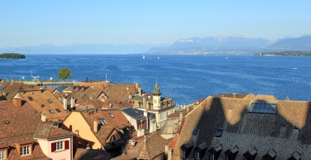 View on lake of Geneva from old townscape of Nyon, Switzerland photo